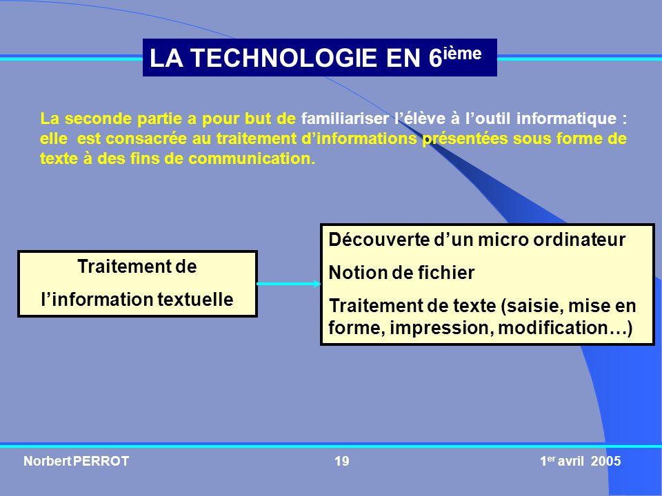 Norbert PERROT 1 er avril 200519 LA TECHNOLOGIE EN 6 ième Traitement de linformation textuelle Découverte dun micro ordinateur Notion de fichier Trait