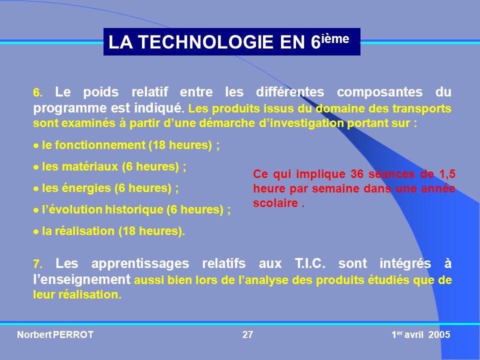 Norbert PERROT 1 er avril 200527 LA TECHNOLOGIE EN 6 ième 6. Le poids relatif entre les différentes composantes du programme est indiqué. Les produits