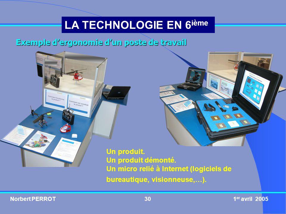 Norbert PERROT 1 er avril 200530 LA TECHNOLOGIE EN 6 ième Exemple dergonomie dun poste de travail Un produit. Un produit démonté. Un micro relié à Int