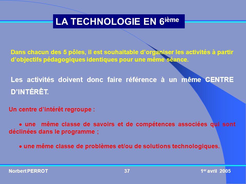 Norbert PERROT 1 er avril 200537 LA TECHNOLOGIE EN 6 ième Dans chacun des 5 pôles, il est souhaitable dorganiser les activités à partir dobjectifs péd