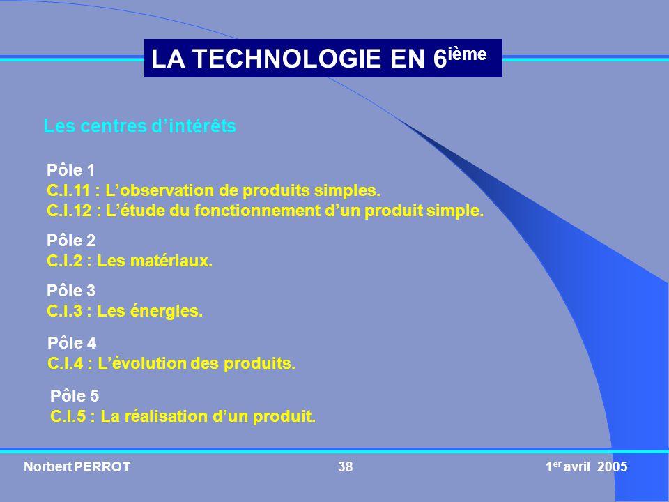 Norbert PERROT 1 er avril 200539 LA TECHNOLOGIE EN 6 ième Proposition pour lordre des séances C.I.11 Observation de produits simples (3 séances : 4, 5 heures) S1 : Mise en oeuvre dun produit.