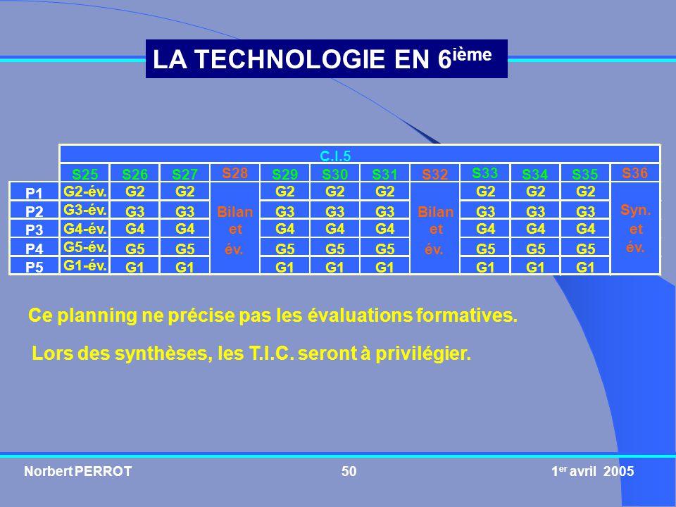 Norbert PERROT 1 er avril 200550 LA TECHNOLOGIE EN 6 ième Ce planning ne précise pas les évaluations formatives. Lors des synthèses, les T.I.C. seront