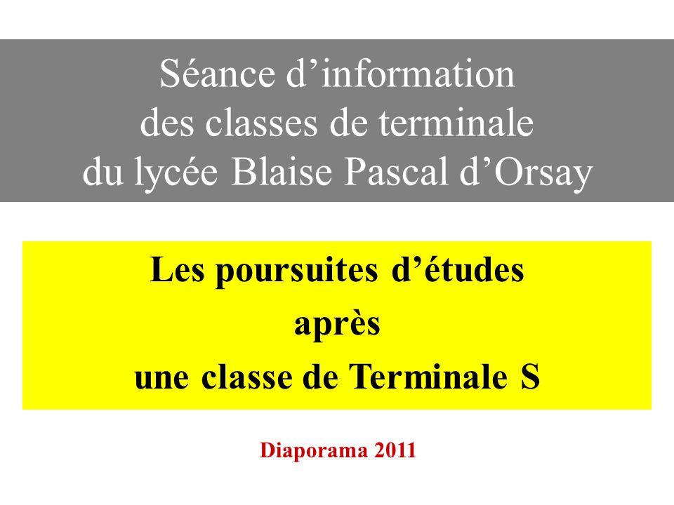 Séance dinformation des classes de terminale du lycée Blaise Pascal dOrsay Les poursuites détudes après une classe de Terminale S Diaporama 2011