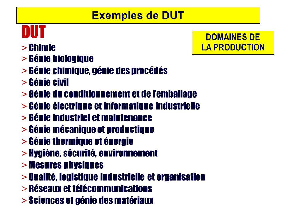 Exemples de DUT DUT > Chimie > Génie biologique > Génie chimique, génie des procédés > Génie civil > Génie du conditionnement et de lemballage > Génie