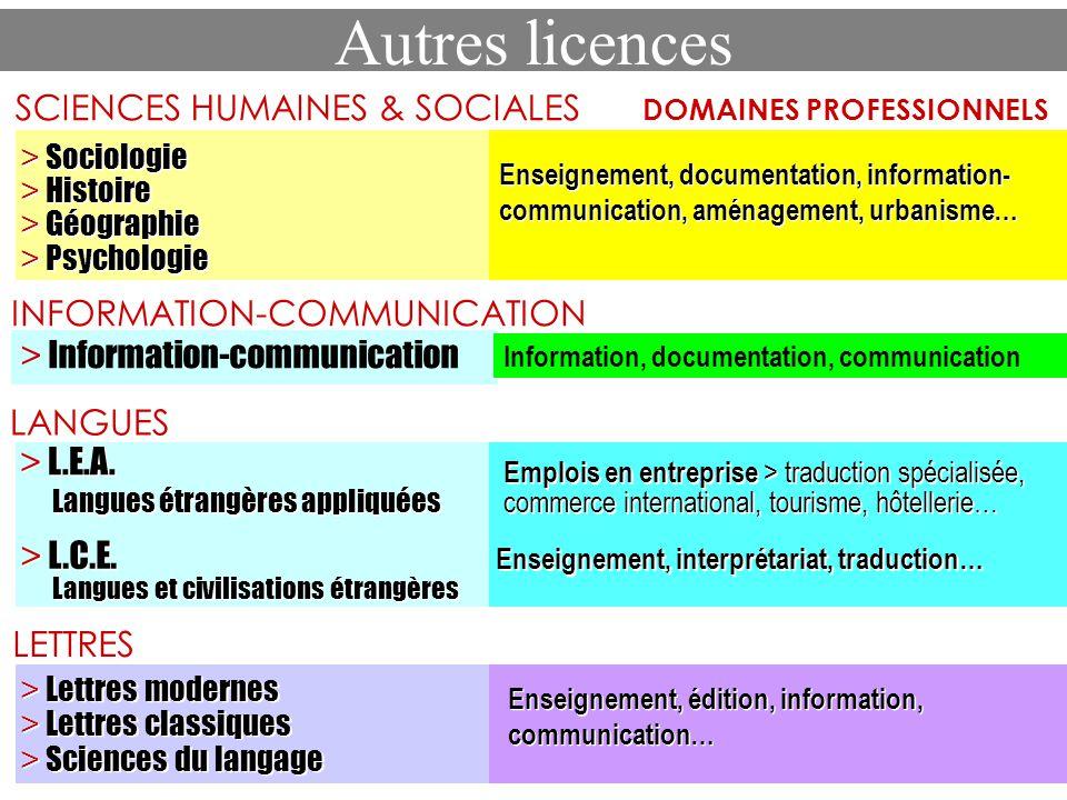 Autres licences SCIENCES HUMAINES & SOCIALES DOMAINES PROFESSIONNELS > Sociologie > Histoire > Géographie > Psychologie > Sociologie > Histoire > Géog