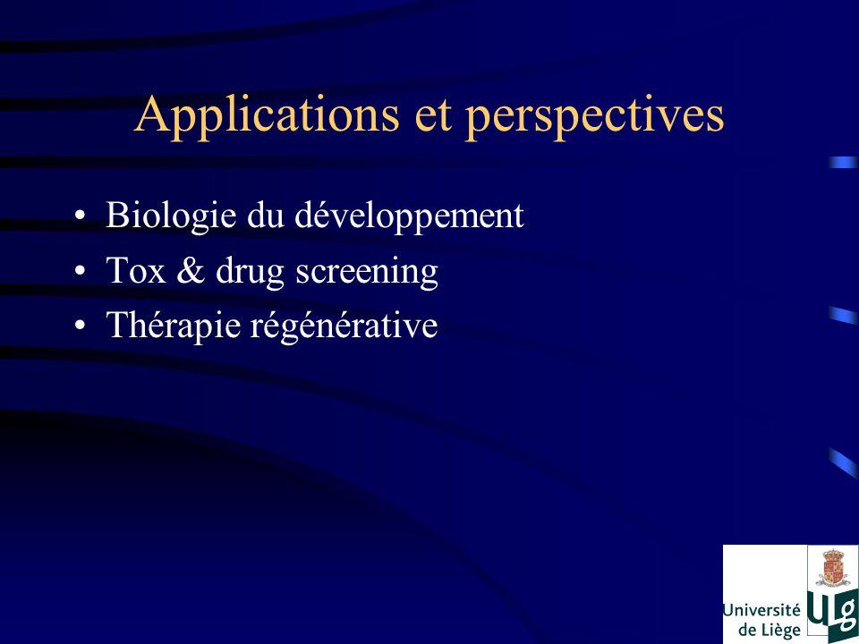 Applications et perspectives Biologie du développement Tox & drug screening Thérapie régénérative