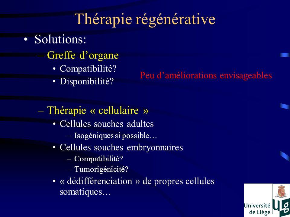 Thérapie régénérative Solutions: –Greffe dorgane Compatibilité? Disponibilité? –Thérapie « cellulaire » Cellules souches adultes –Isogéniques si possi