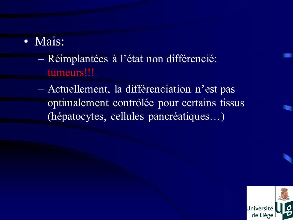 Mais: –Réimplantées à létat non différencié: tumeurs!!! –Actuellement, la différenciation nest pas optimalement contrôlée pour certains tissus (hépato