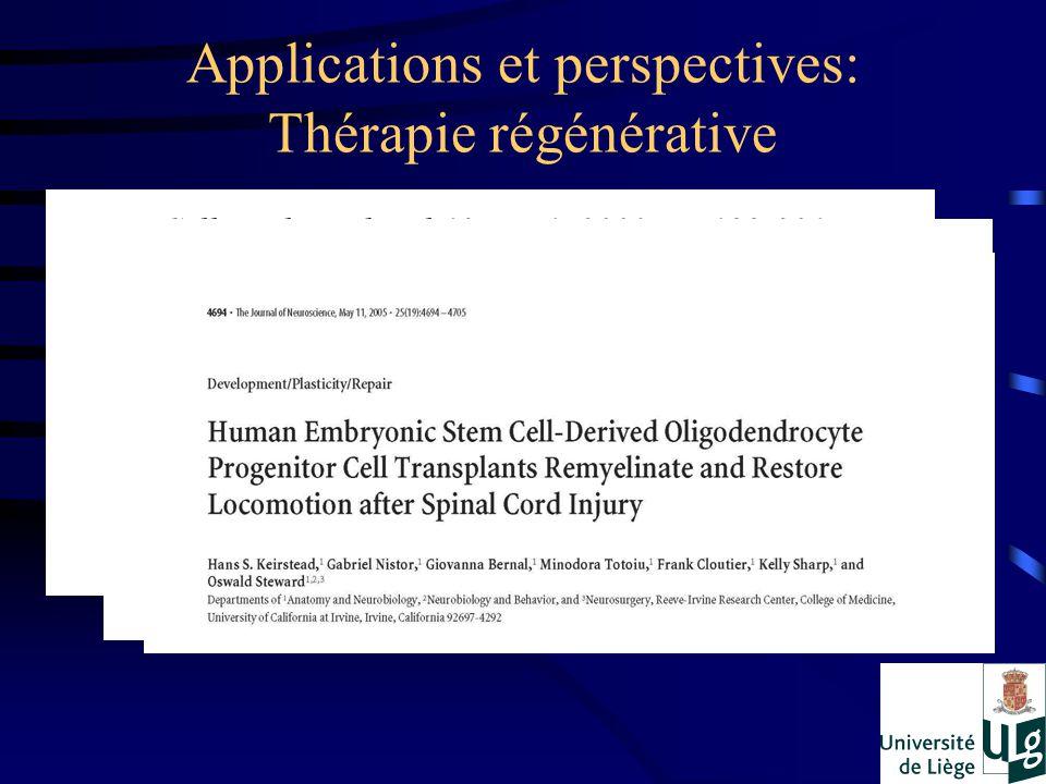 Applications et perspectives: Thérapie régénérative Pour éviter la formation de tumeurs: –Différenciation extrêmement bien contrôlée –Purification des cellules à réimplanter!!.