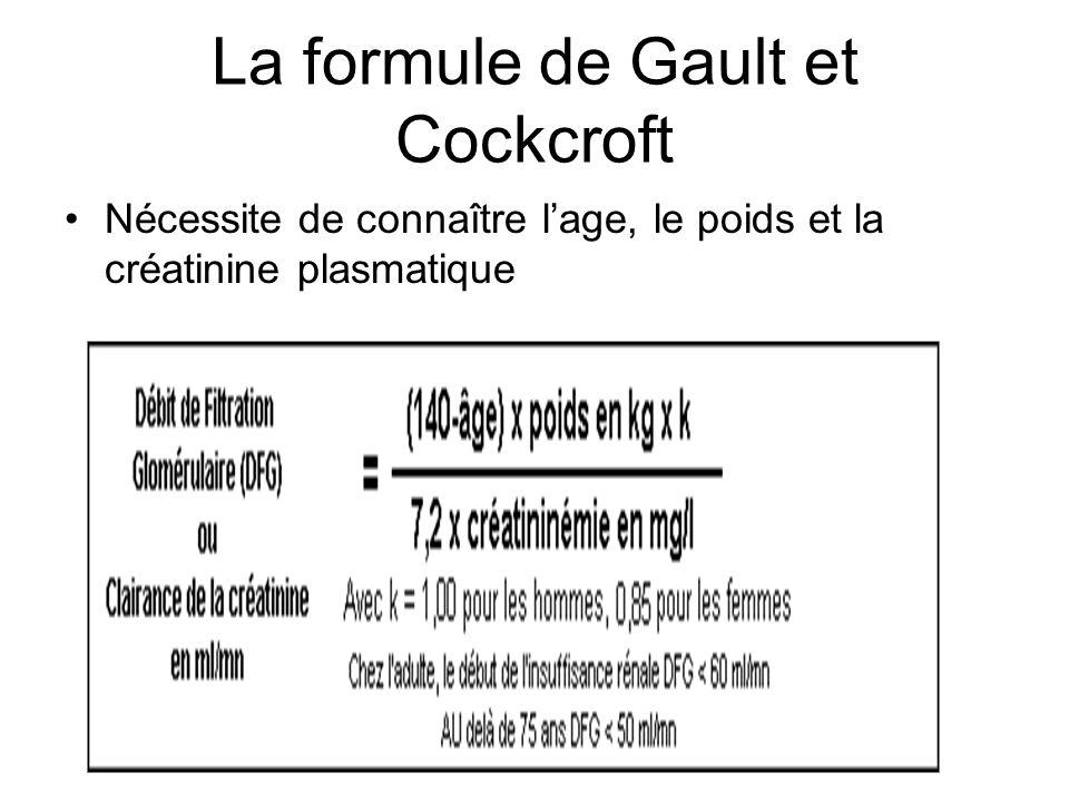 La formule de Gault et Cockcroft Nécessite de connaître lage, le poids et la créatinine plasmatique Formule de Cockcroft et Gault