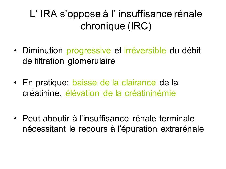 L IRA soppose à l insuffisance rénale chronique (IRC) Diminution progressive et irréversible du débit de filtration glomérulaire En pratique: baisse d