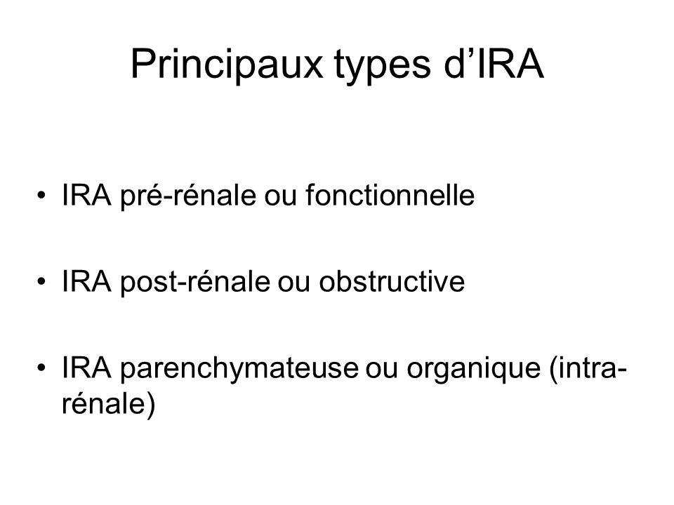 Principaux types dIRA IRA pré-rénale ou fonctionnelle IRA post-rénale ou obstructive IRA parenchymateuse ou organique (intra- rénale)