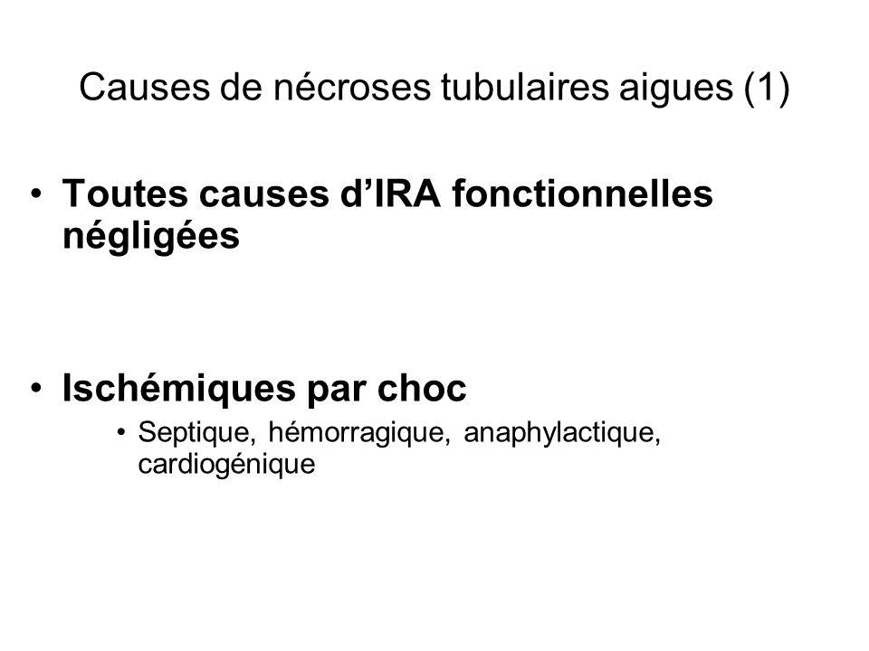 Causes de nécroses tubulaires aigues (1) Toutes causes dIRA fonctionnelles négligées Ischémiques par choc Septique, hémorragique, anaphylactique, cardiogénique