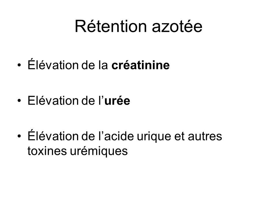 Rétention azotée Élévation de la créatinine Elévation de lurée Élévation de lacide urique et autres toxines urémiques