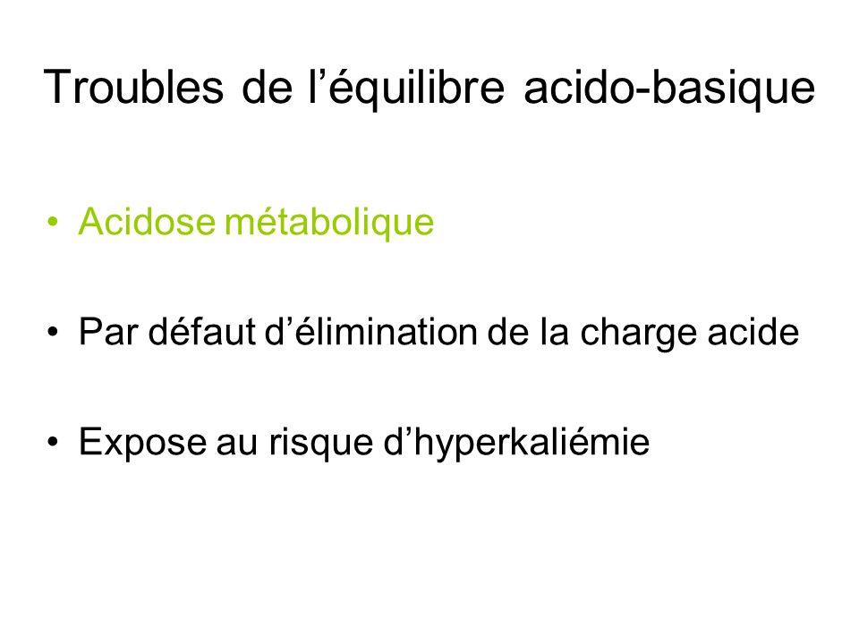 Troubles de léquilibre acido-basique Acidose métabolique Par défaut délimination de la charge acide Expose au risque dhyperkaliémie