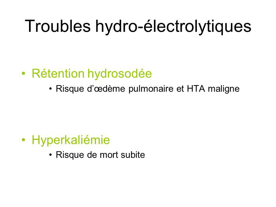 Troubles hydro-électrolytiques Rétention hydrosodée Risque dœdème pulmonaire et HTA maligne Hyperkaliémie Risque de mort subite
