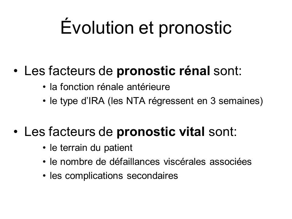 Évolution et pronostic Les facteurs de pronostic rénal sont: la fonction rénale antérieure le type dIRA (les NTA régressent en 3 semaines) Les facteurs de pronostic vital sont: le terrain du patient le nombre de défaillances viscérales associées les complications secondaires