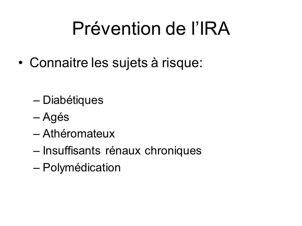 Prévention de lIRA Connaitre les sujets à risque: –Diabétiques –Agés –Athéromateux –Insuffisants rénaux chroniques –Polymédication