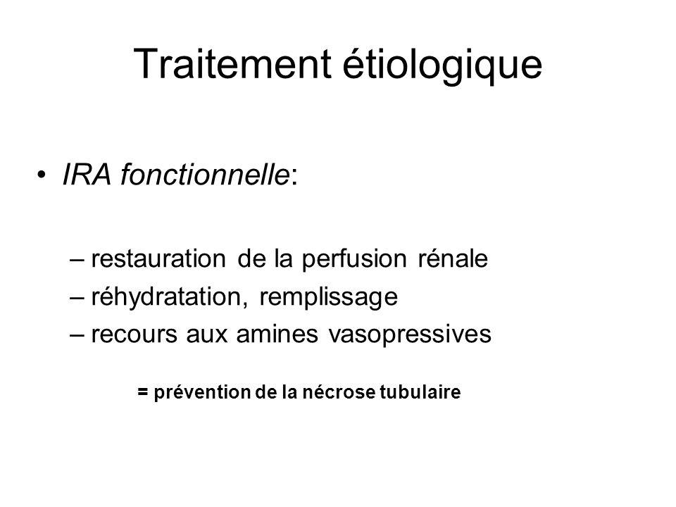 Traitement étiologique IRA fonctionnelle: –restauration de la perfusion rénale –réhydratation, remplissage –recours aux amines vasopressives = prévention de la nécrose tubulaire