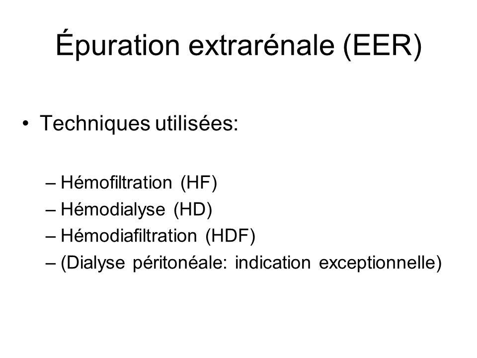 Épuration extrarénale (EER) Techniques utilisées: –Hémofiltration (HF) –Hémodialyse (HD) –Hémodiafiltration (HDF) –(Dialyse péritonéale: indication exceptionnelle)