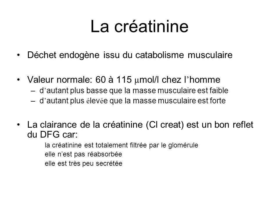 La créatinine Déchet endogène issu du catabolisme musculaire Valeur normale: 60 à 115 µ mol/l chez l homme –d autant plus basse que la masse musculaire est faible –d autant plus é lev é e que la masse musculaire est forte La clairance de la créatinine (Cl creat) est un bon reflet du DFG car: la créatinine est totalement filtrée par le glomérule elle nest pas réabsorbée elle est très peu secrétée