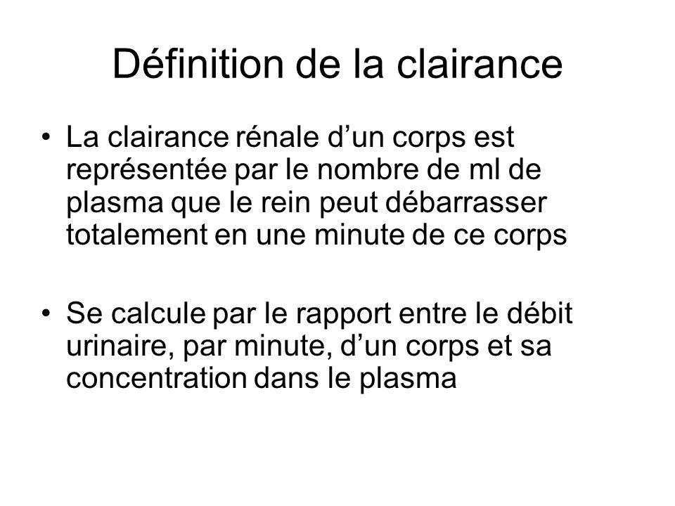 Définition de la clairance La clairance rénale dun corps est représentée par le nombre de ml de plasma que le rein peut débarrasser totalement en une minute de ce corps Se calcule par le rapport entre le débit urinaire, par minute, dun corps et sa concentration dans le plasma