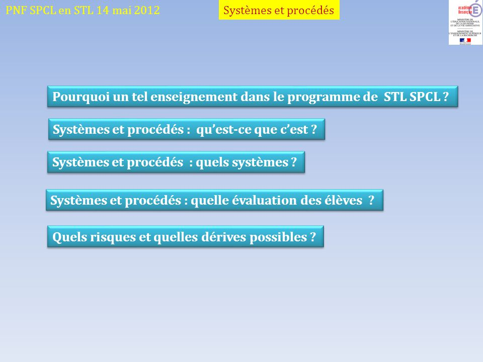PNF SPCL en STL 14 mai 2012 Pourquoi un tel enseignement dans le programme de STL SPCL ? Systèmes et procédés : quest-ce que cest ? Systèmes et procéd