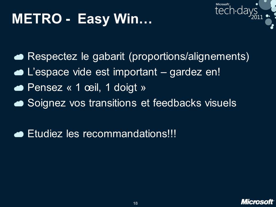 18 METRO - Easy Win… Respectez le gabarit (proportions/alignements) Lespace vide est important – gardez en! Pensez « 1 œil, 1 doigt » Soignez vos tran