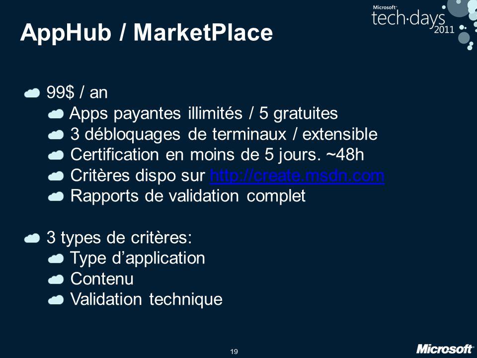 19 AppHub / MarketPlace 99$ / an Apps payantes illimités / 5 gratuites 3 débloquages de terminaux / extensible Certification en moins de 5 jours. ~48h