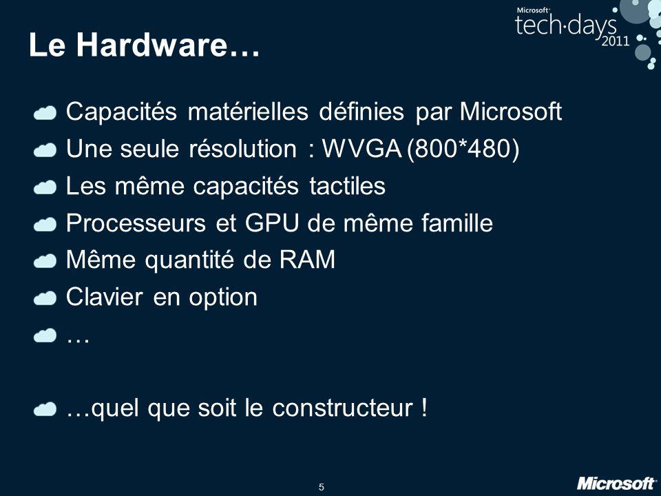 5 Le Hardware… Capacités matérielles définies par Microsoft Une seule résolution : WVGA (800*480) Les même capacités tactiles Processeurs et GPU de mê