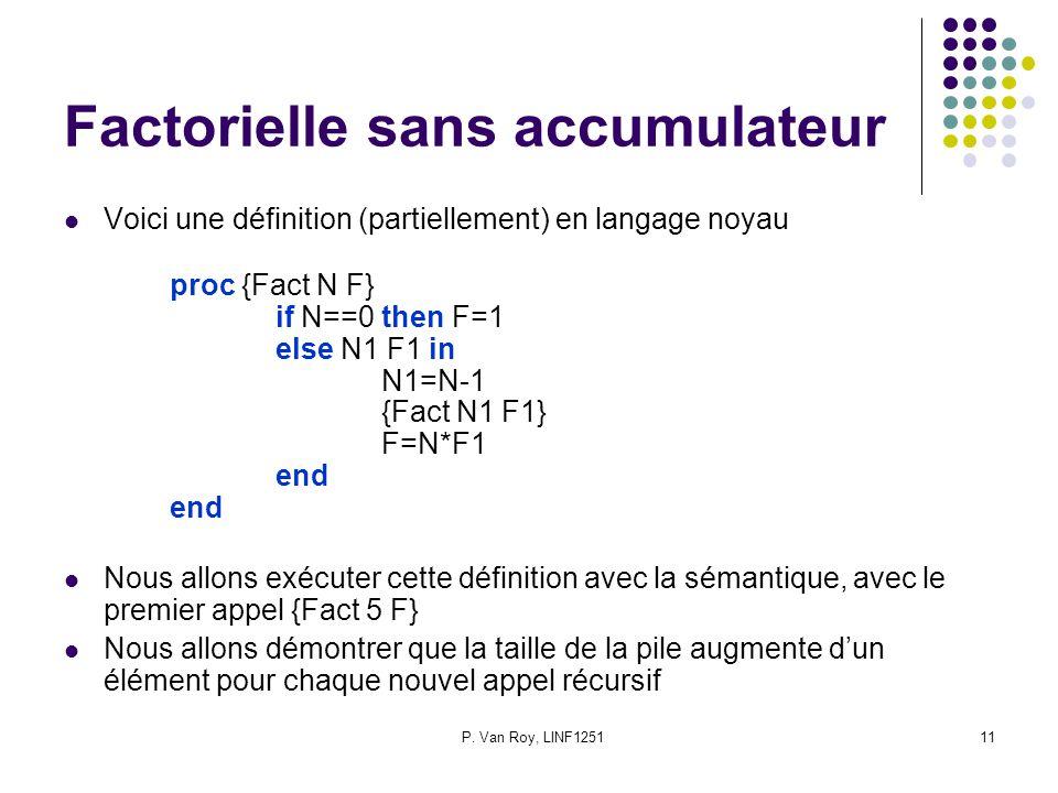 P. Van Roy, LINF125111 Factorielle sans accumulateur Voici une définition (partiellement) en langage noyau proc {Fact N F} if N==0 then F=1 else N1 F1