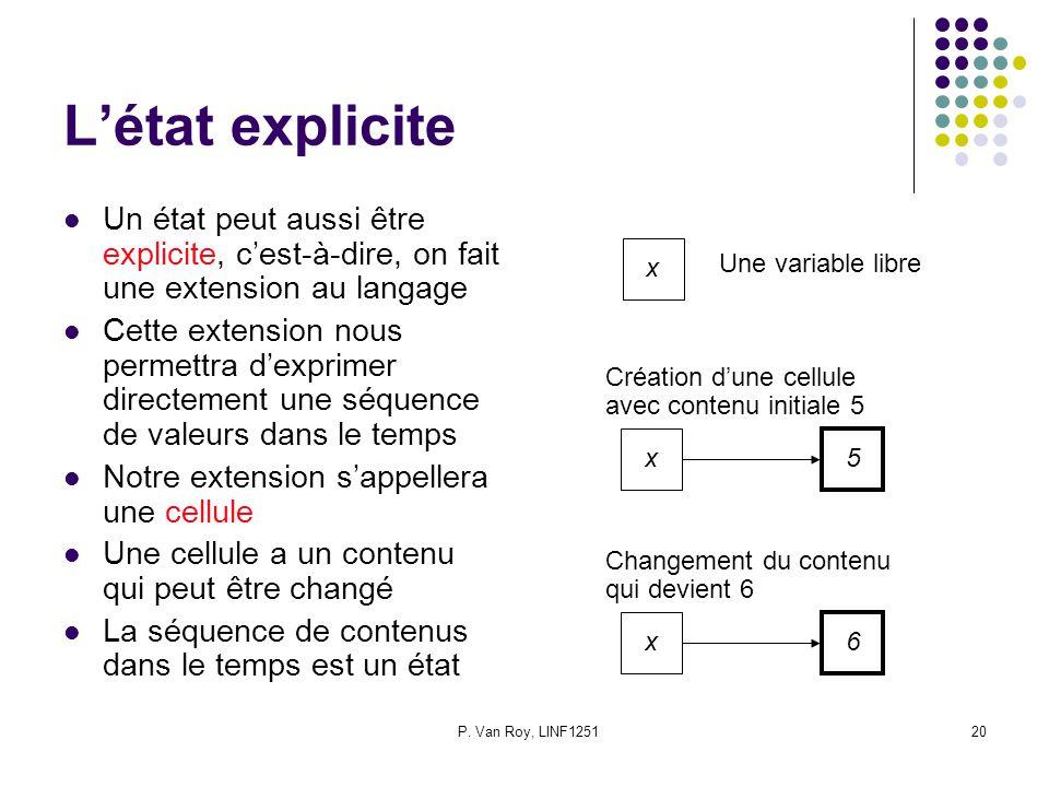 P. Van Roy, LINF125120 Létat explicite Un état peut aussi être explicite, cest-à-dire, on fait une extension au langage Cette extension nous permettra