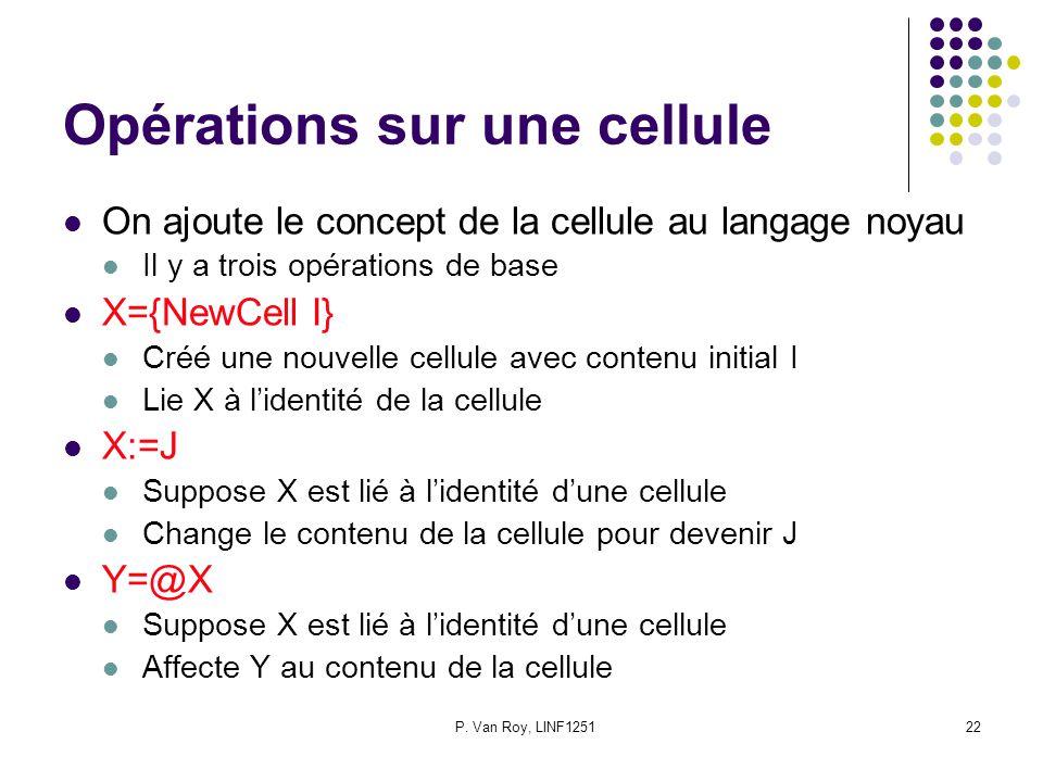 P. Van Roy, LINF125122 Opérations sur une cellule On ajoute le concept de la cellule au langage noyau Il y a trois opérations de base X={NewCell I} Cr