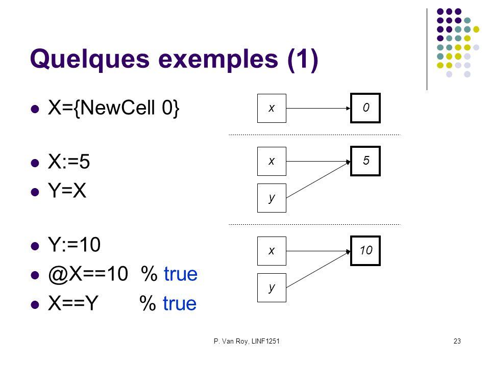 P. Van Roy, LINF125123 Quelques exemples (1) X={NewCell 0} X:=5 Y=X Y:=10 @X==10 % true X==Y % true x 0 x 5 y x 10 y