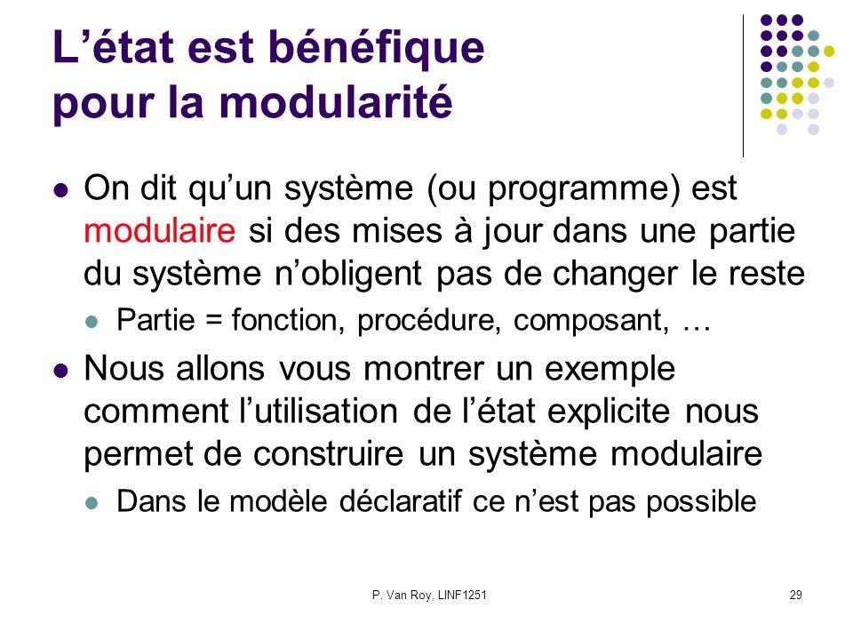P. Van Roy, LINF125129 Létat est bénéfique pour la modularité On dit quun système (ou programme) est modulaire si des mises à jour dans une partie du