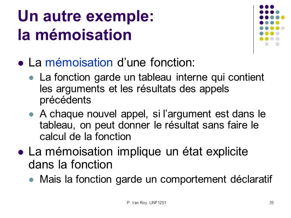 P. Van Roy, LINF125135 Un autre exemple: la mémoisation La mémoisation dune fonction: La fonction garde un tableau interne qui contient les arguments