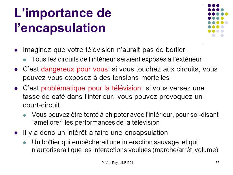 P. Van Roy, LINF125137 Limportance de lencapsulation Imaginez que votre télévision naurait pas de boîtier Tous les circuits de lintérieur seraient exp