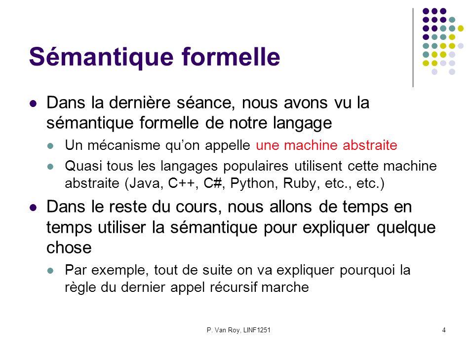 P. Van Roy, LINF12514 Sémantique formelle Dans la dernière séance, nous avons vu la sémantique formelle de notre langage Un mécanisme quon appelle une