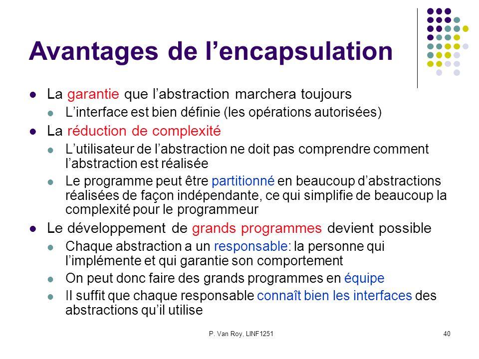 P. Van Roy, LINF125140 Avantages de lencapsulation La garantie que labstraction marchera toujours Linterface est bien définie (les opérations autorisé