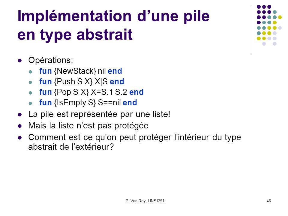 P. Van Roy, LINF125146 Implémentation dune pile en type abstrait Opérations: fun {NewStack} nil end fun {Push S X} X|S end fun {Pop S X} X=S.1 S.2 end