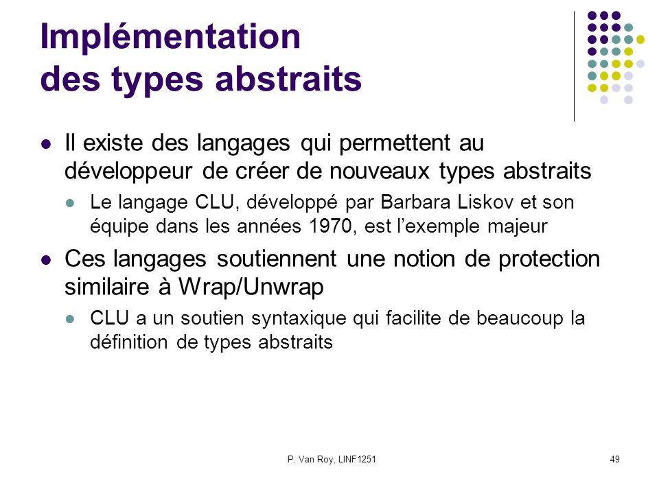 P. Van Roy, LINF125149 Implémentation des types abstraits Il existe des langages qui permettent au développeur de créer de nouveaux types abstraits Le