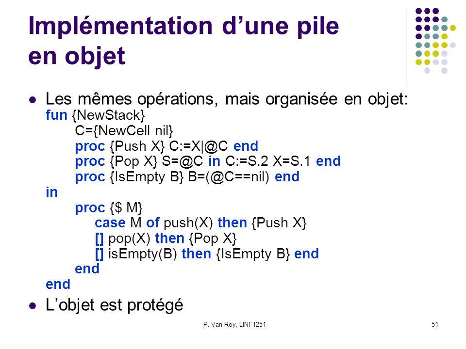 P. Van Roy, LINF125151 Implémentation dune pile en objet Les mêmes opérations, mais organisée en objet: fun {NewStack} C={NewCell nil} proc {Push X} C
