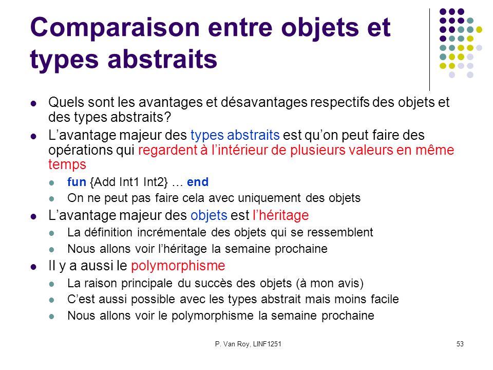 P. Van Roy, LINF125153 Comparaison entre objets et types abstraits Quels sont les avantages et désavantages respectifs des objets et des types abstrai