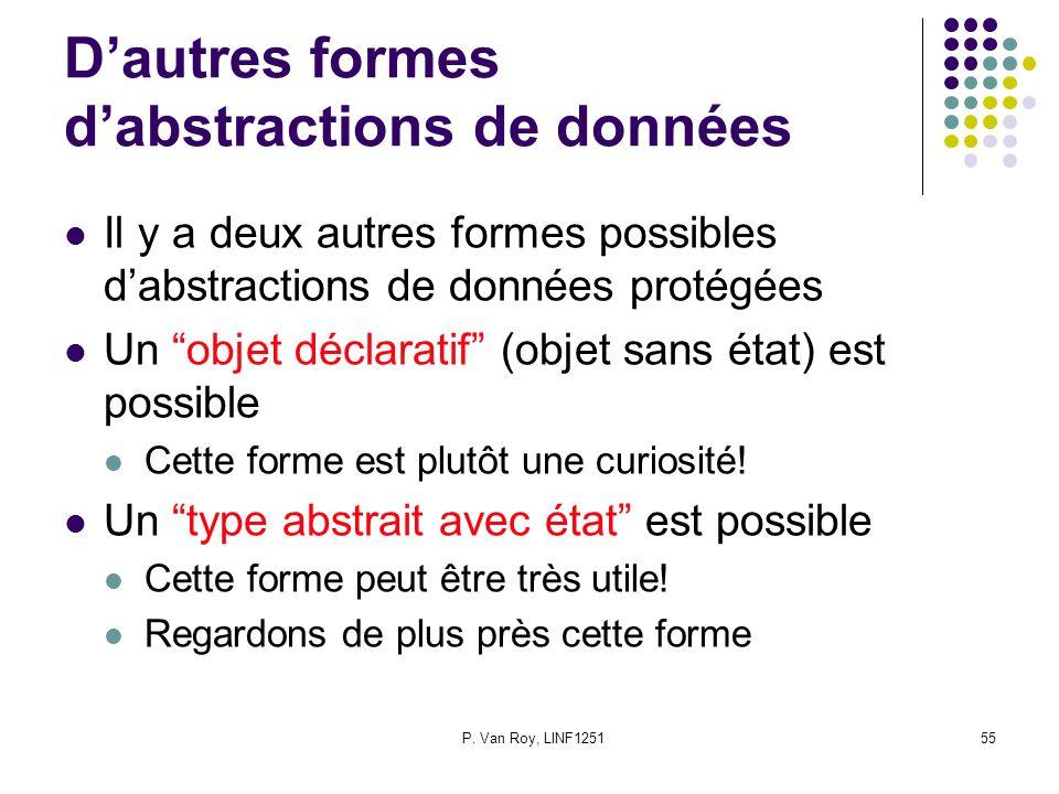 P. Van Roy, LINF125155 Dautres formes dabstractions de données Il y a deux autres formes possibles dabstractions de données protégées Un objet déclara