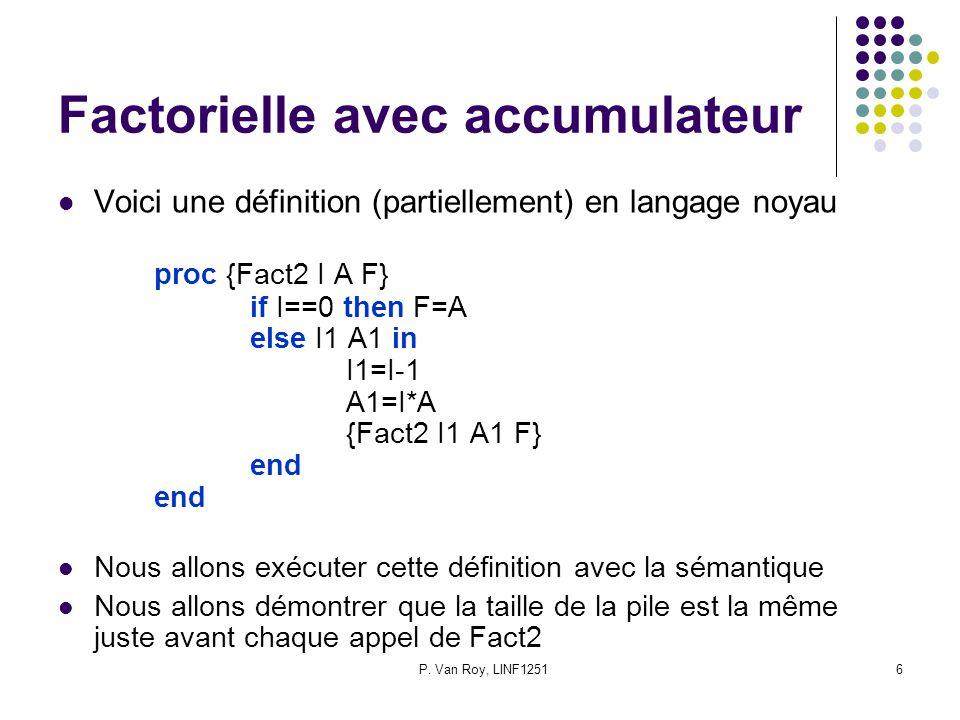 P. Van Roy, LINF12516 Factorielle avec accumulateur Voici une définition (partiellement) en langage noyau proc {Fact2 I A F} if I==0 then F=A else I1