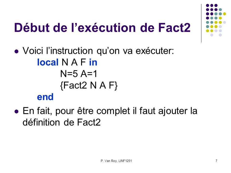 P. Van Roy, LINF12517 Début de lexécution de Fact2 Voici linstruction quon va exécuter: local N A F in N=5 A=1 {Fact2 N A F} end En fait, pour être co