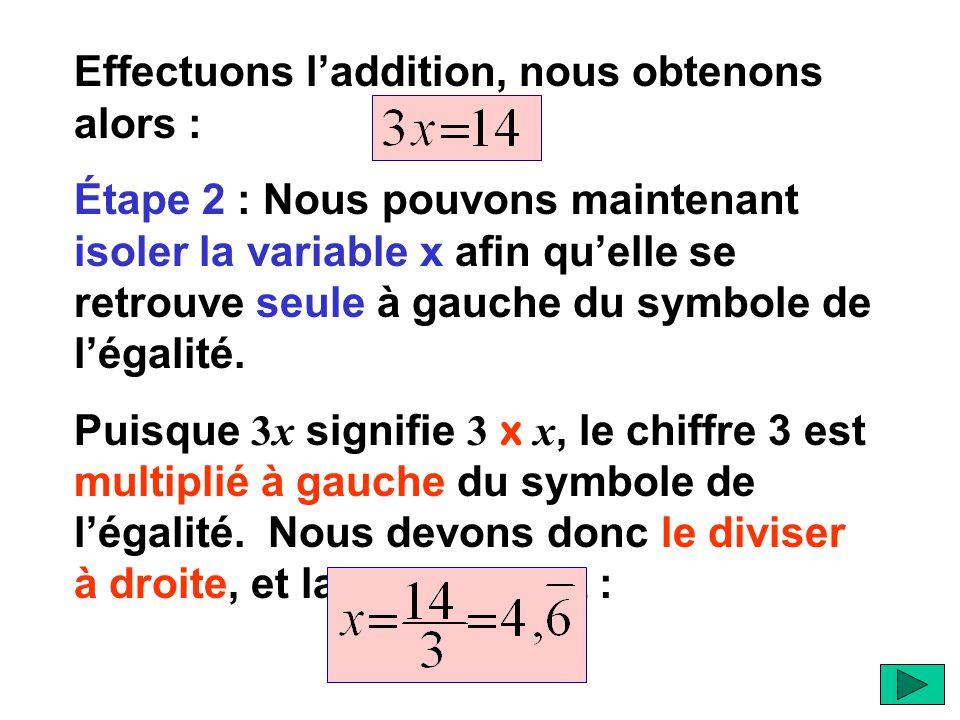Étape 1 : Isoler la variable x avec son coefficient. Nous devons donc commencer en isolant le terme 3x. Puisquil est déjà à gauche du symbole de légal