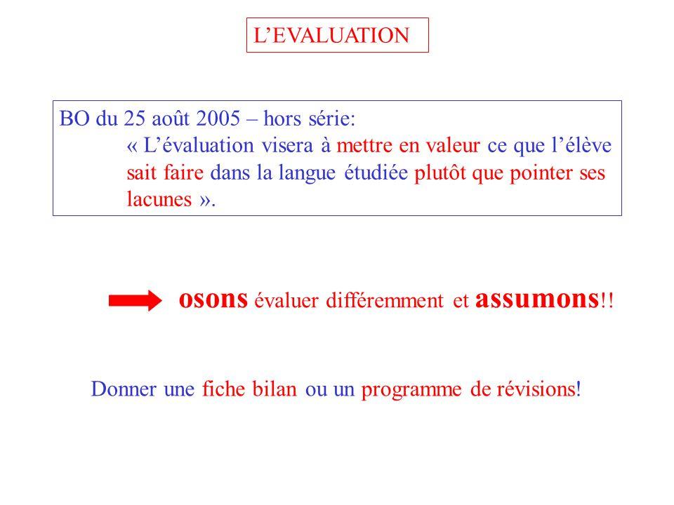 LEVALUATION BO du 25 août 2005 – hors série: « Lévaluation visera à mettre en valeur ce que lélève sait faire dans la langue étudiée plutôt que pointer ses lacunes ».