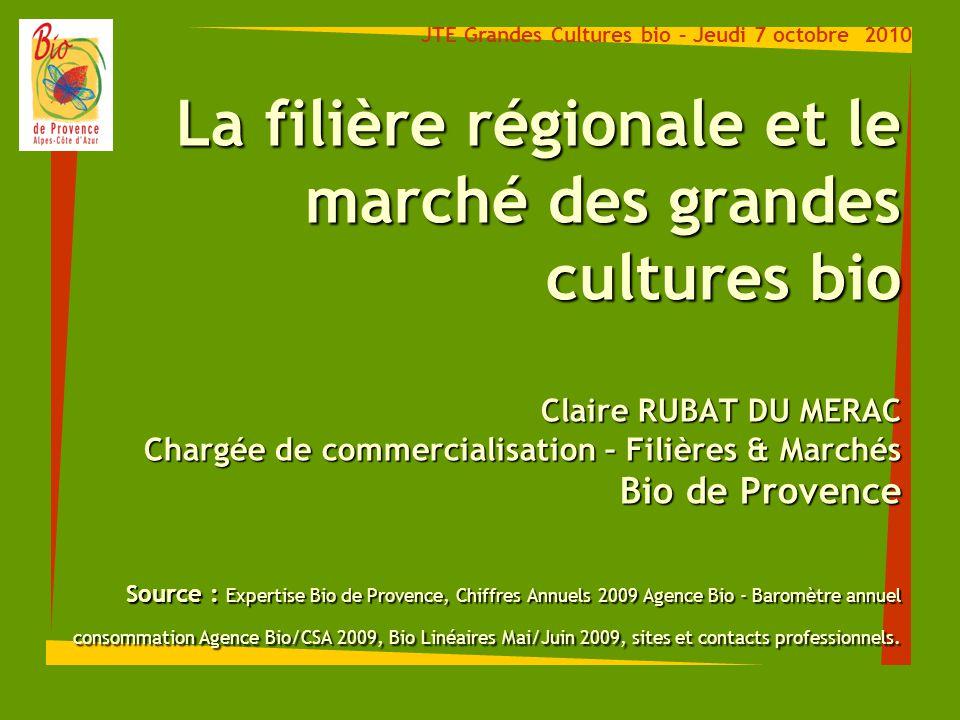 La filière régionale et le marché des grandes cultures bio Claire RUBAT DU MERAC Chargée de commercialisation – Filières & Marchés Bio de Provence Sou