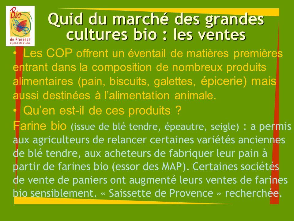Quid du marché des grandes cultures bio : les ventes Les COP offrent un éventail de matières premières entrant dans la composition de nombreux produit